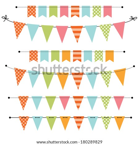 Blank banner, bunting or swag templates for scrapbooking  parties, spring, Easter, baby showers and sales, on transparent background, in vector format - stock vector