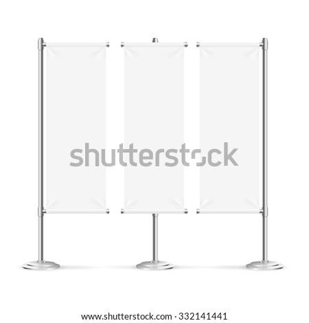 Blank Banner Flag Set Isolated on White Background. Vector illustration - stock vector