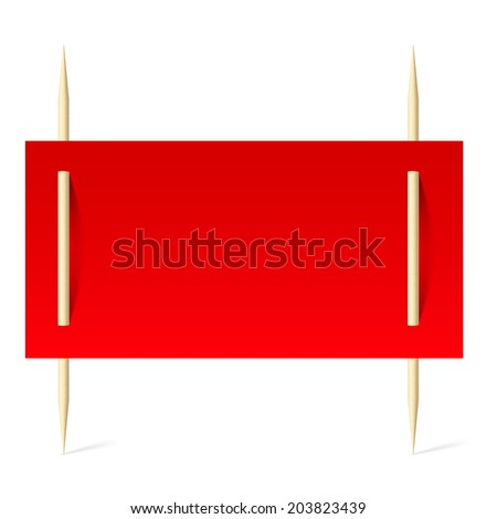 Blank banner with red paper on toothpicks. Illustration on white background - stock vector