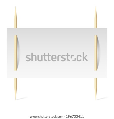 Blank banner with white paper on toothpicks. Illustration on white background - stock vector