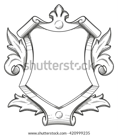Blank baroque shield with floral ornament and stroked shades. Hand drawn vintage heraldic insignia design isolated on white. Old style flourish swirls and rococo decor. - stock vector