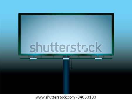 Blank billboard at night with room to add your own message - stock vector