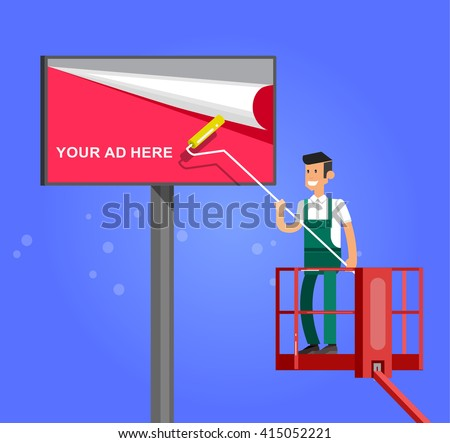 Blank billboard for new advertisement with Vector detailed character men worker on lift - stock vector
