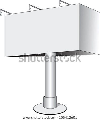 Blank billboard isolated on white, vector - stock vector