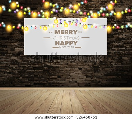 Blank billboard or poster on wall room with christmas lights, Vector illustration layout template design - stock vector