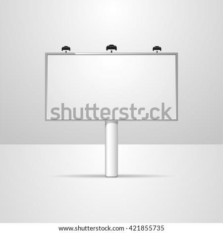 Blank billboard, vector mockup billboard, isolated outdoor advertisement templat - stock vector