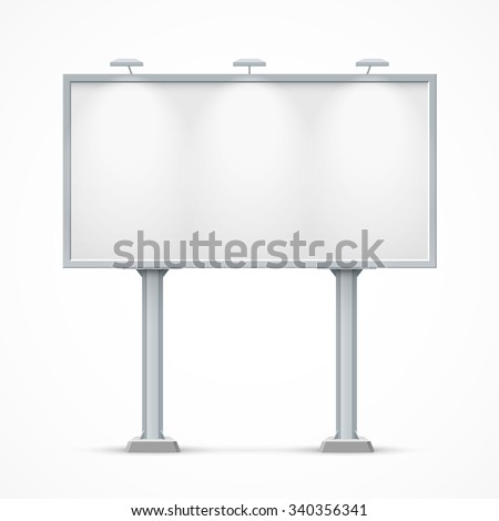 Blank billboard with two legs. Mockup for your advertisement and design - stock vector