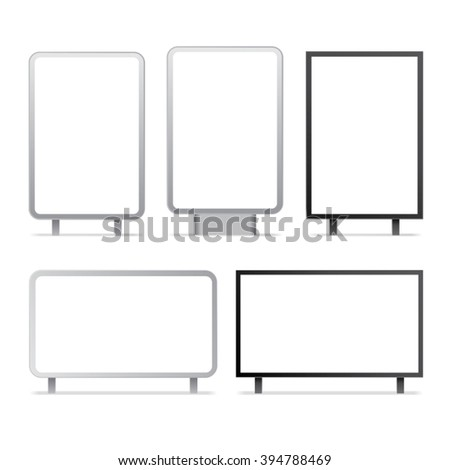Blank billboards and outdoor advertisement templates isolated. Vector set. - stock vector