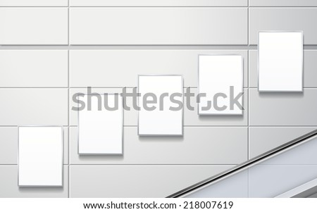 blank billboards on the wall in modern public space - stock vector