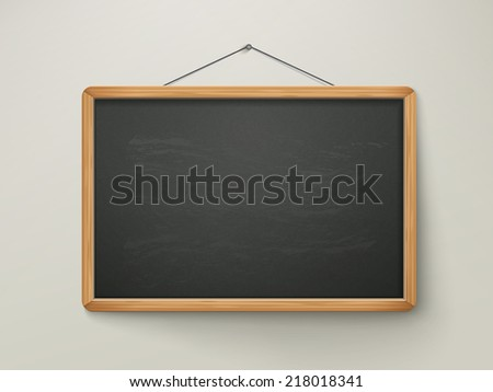 blank black chalkboard hanging on the wall - stock vector