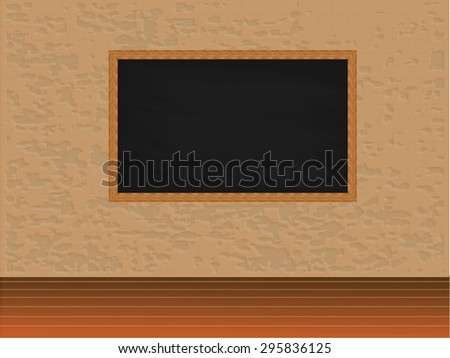 Blank black chalkboard in wooden frame on brick wall with wooden floor.brick wall.vector illustration  