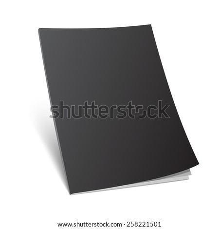 Blank black magazine cover on white. Standing 3d vector illustration with curled corner. - stock vector