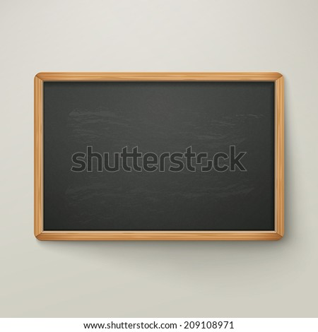 blank blackboard in wooden frame isolated over grey background - stock vector