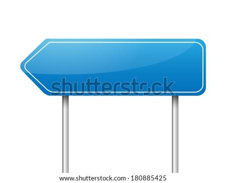 Blank blue arrow road sign vector - stock vector