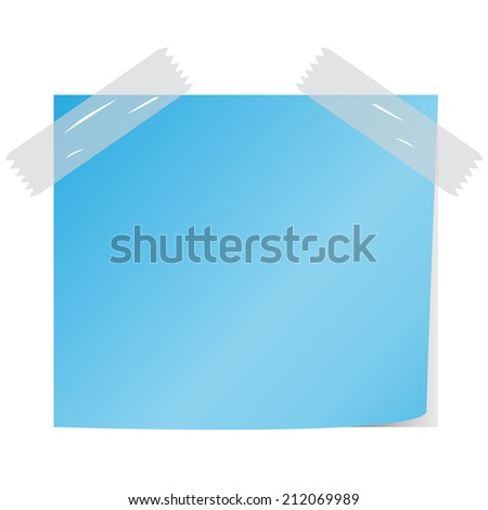 blank blue color notice papers  vector - stock vector
