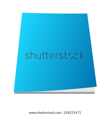 Blank blue magazine cover on white. 3d vector illustration with curled corner. - stock vector