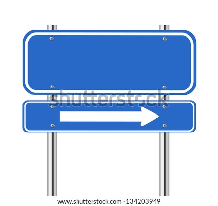Blank blue traffic sign with white arrow on white - stock vector