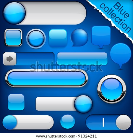 Blank blue web buttons for website or app. Vector eps10. - stock vector