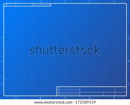 Blank blueprint paper for drafting. Drawing sheet layout with frame and title block. Vector background for technical drawing, engineering, design, project, drafting, development process, etc - stock vector