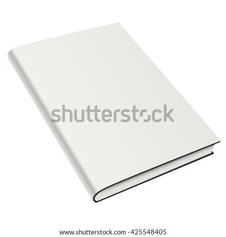 Blank book cover white isolated. Vector mock up illustration - stock vector