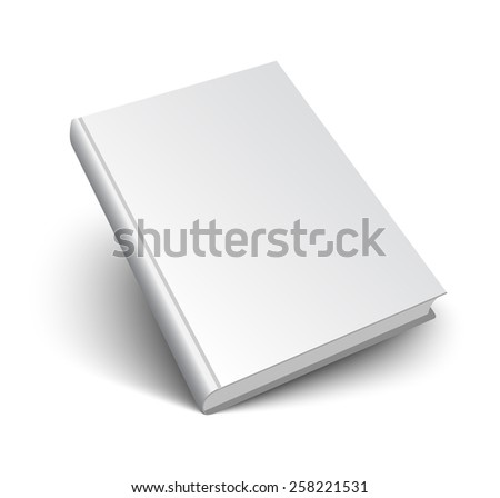 Blank book mockup with shadow isolated on white. 3d vector illustration. - stock vector