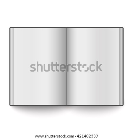 Blank book spread placed on white background