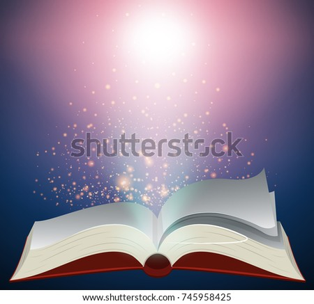 Blank book with bright light illustration