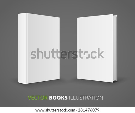 Blank books covers from front and back. Vector illustration. - stock vector