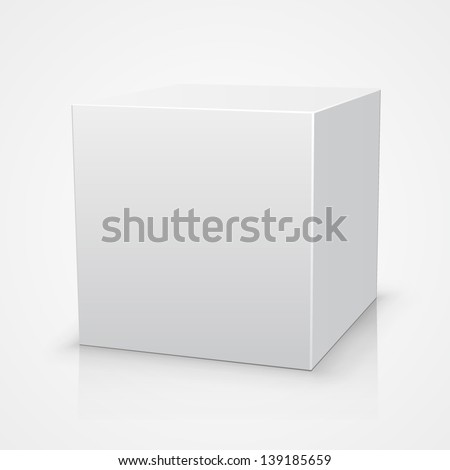 Blank box on white background with reflection - stock vector
