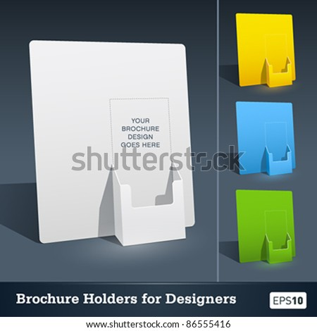 Blank brochure holder template for designers. - stock vector