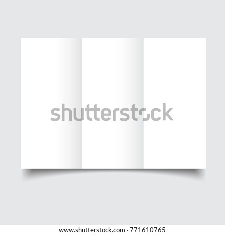 Blank Brochure Template With Paper Bends And Soft Shadows. Blank White  Folding Paper Flyer.