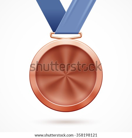 Blank bronze medal with ribbon