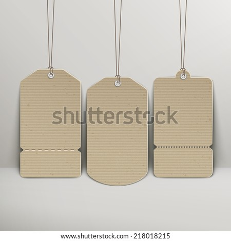 blank brown price tags hanging on the wall - stock vector