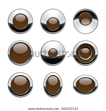 Blank brown web buttons for website or app. Vector - stock vector