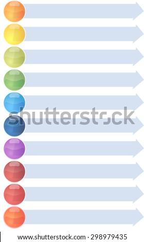 blank business strategy concept infographic arrow list diagram illustration ten 10 steps - stock vector