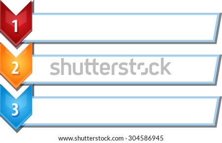 blank business strategy concept infographic chevron list diagram illustration three 3 steps - stock vector