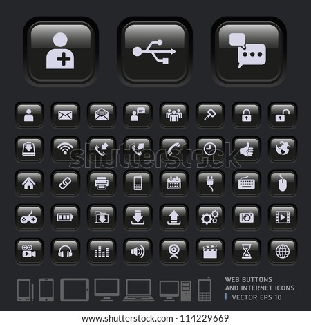 Blank buttons and Internet Icons for Web, Applications and Tablet Mobile. Vector illustration - stock vector