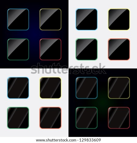 blank buttons for applications. vector set. eps10 - stock vector