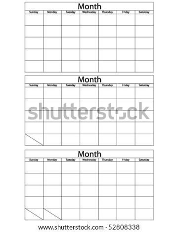 Blank Calendar Template - stock vector