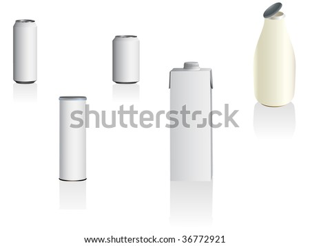 Blank cans and bottles. You can apply your own packaging design. Linear and radial gradients only. - stock vector