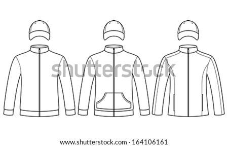 Blank caps and sweatshirts template  - stock vector