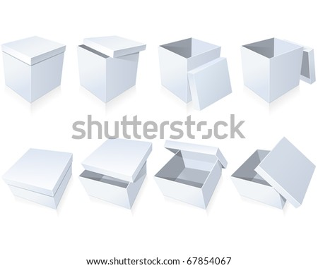 Blank cardboard boxes - stock vector
