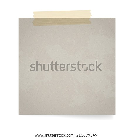 Blank cardboard paper with tape and transparent shadow and place for your text - vector illustration - stock vector
