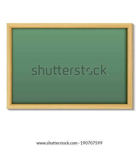 Blank chalk green board in a wood  frame for write and teach on white background.    Vector illustration.