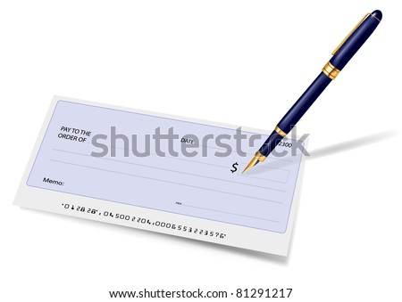 Blank check and pen. Vector illustration. - stock vector