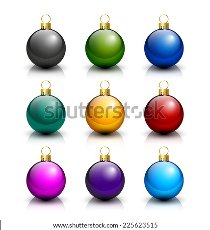 Blank Christmas balls placed on white background - stock vector