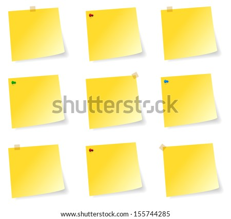 Blank Collection Of Yellow Sticky Notes With Adhesive Tape And Pins