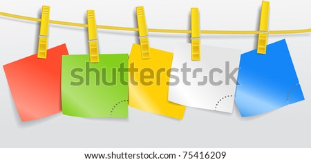Blank color paper sheets on rope - stock vector