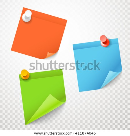 Blank color stickers set on transparent background - stock vector