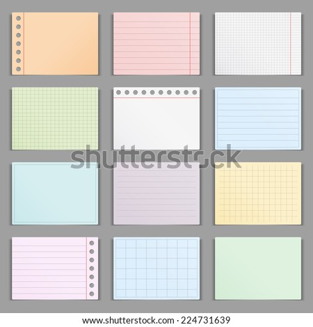 Blank colored paper sheets with shadows, vector eps10 illustration - stock vector